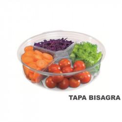 Envase circular con tapa bisagra / HQ / 4x350 cc