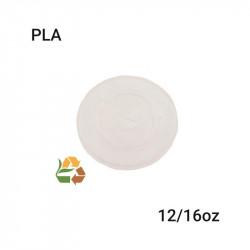 Tapa plana para vasos PLA compostable 12/16oz