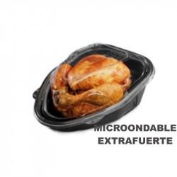 Base Negra PP + tapa OPS para pollo 2.600cc / 130