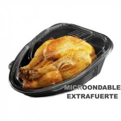 Base Negra PP + tapa OPS para pollo 3.700cc / 100