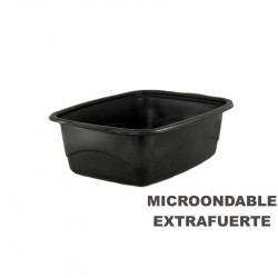 Envase Microondas Base Negra 1800cc 254x187x80/200