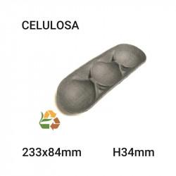 Bandeja alargada negra 3 comp - 233x84mm- H34mm