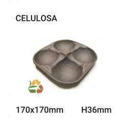 Bandeja cuadrada negra 4 comp - 170x170mm - H36mm