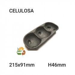 Bandeja negra 3 compartimentos - 215x91mm - H46mm