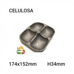 Bandeja negra 4 compartimentos - 174x152mm - H34mm