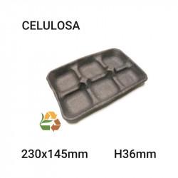 Bandeja negra 6 compartimentos - 230x145mm - H36mm