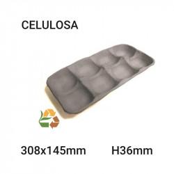 Bandeja negra 8 compartimentos - 308x145mm - H36mm