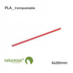 Pajita PLA Roja - 6x250mm