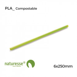 Pajita PLA Verde - 6x250mm