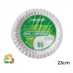 Plato Bco Papel 9 23cm SemiHondo - Light - 100