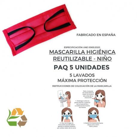 Mascarilla Reutilizable - 5 Lavados - Niño - 50