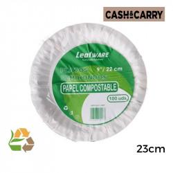 Plato Bco Papel 9 23cm SemiHondo - 350g - 100
