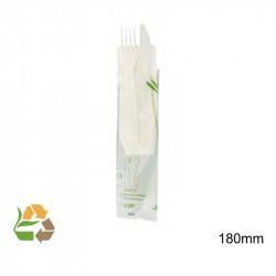 Set Tenedor Cuchillo Servilleta - Blanco - CPLA