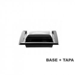 Plato negro con tapa transparente 135x135x47 - 170