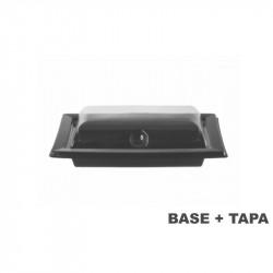 Plato negro con tapa transparente 170x105x47 - 180