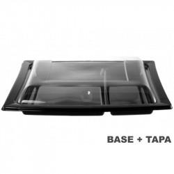 Plato 2 compartimentos negro con tapa transparente