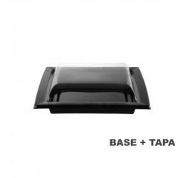 Plato negro con tapa transparente 170x170x47 - 300