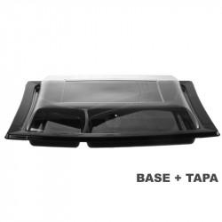 Plato 3 compartimentos negro con tapa transparente