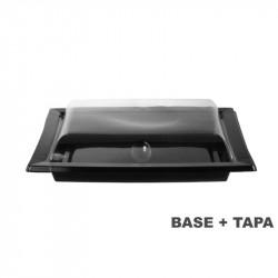 Plato negro con tapa transparente 215x170x47 - 420