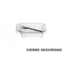 Envase bisagra PET 250 cc con tenedor
